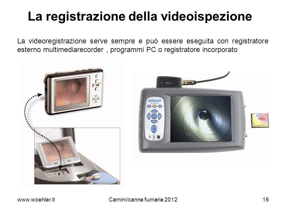 www.woehler.itCamini/canne fumarie 201216 La registrazione della videoispezione La videoregistrazione serve sempre e può essere eseguita con registrat