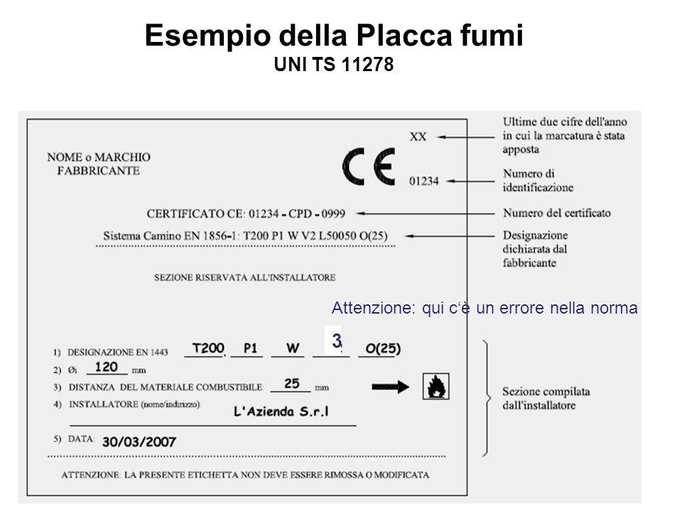 www.woehler.itCamini/canne fumarie 201239 Esempio della Placca fumi UNI TS 11278 3 Attenzione: qui cè un errore nella norma