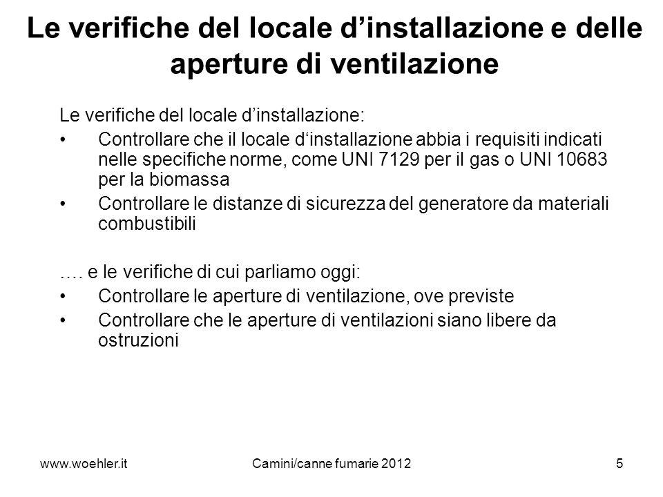 www.woehler.itCamini/canne fumarie 20125 Le verifiche del locale dinstallazione e delle aperture di ventilazione Le verifiche del locale dinstallazion