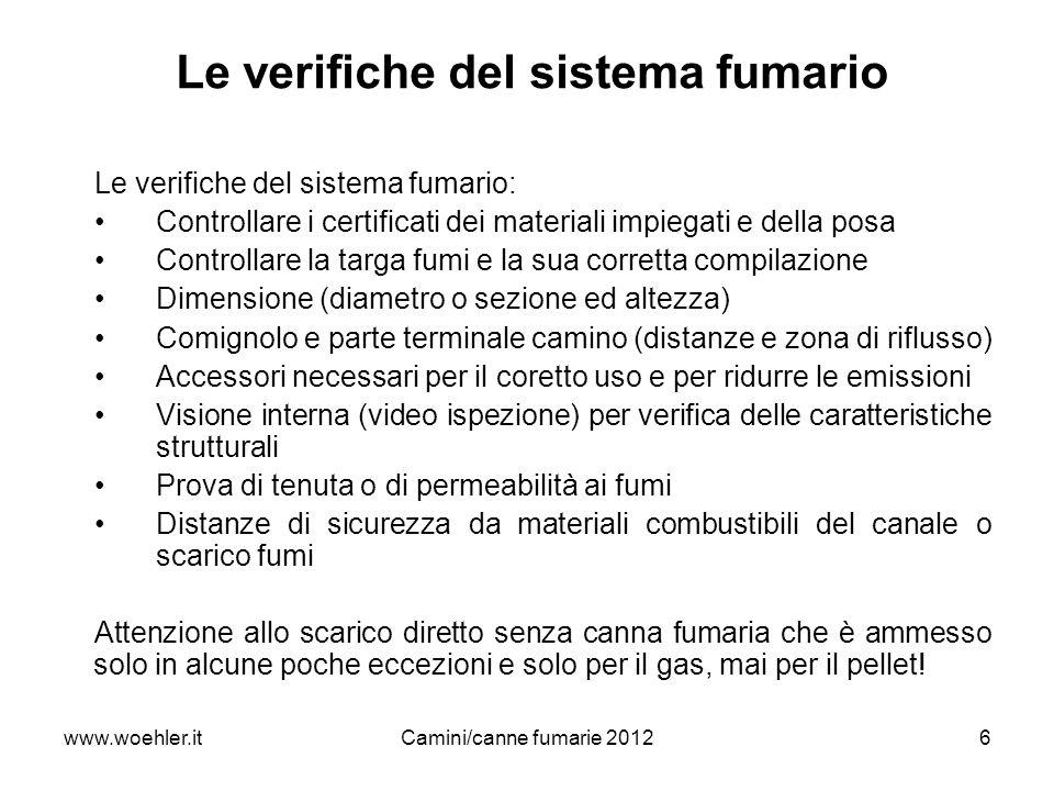 www.woehler.itCamini/canne fumarie 20126 Le verifiche del sistema fumario Le verifiche del sistema fumario: Controllare i certificati dei materiali im