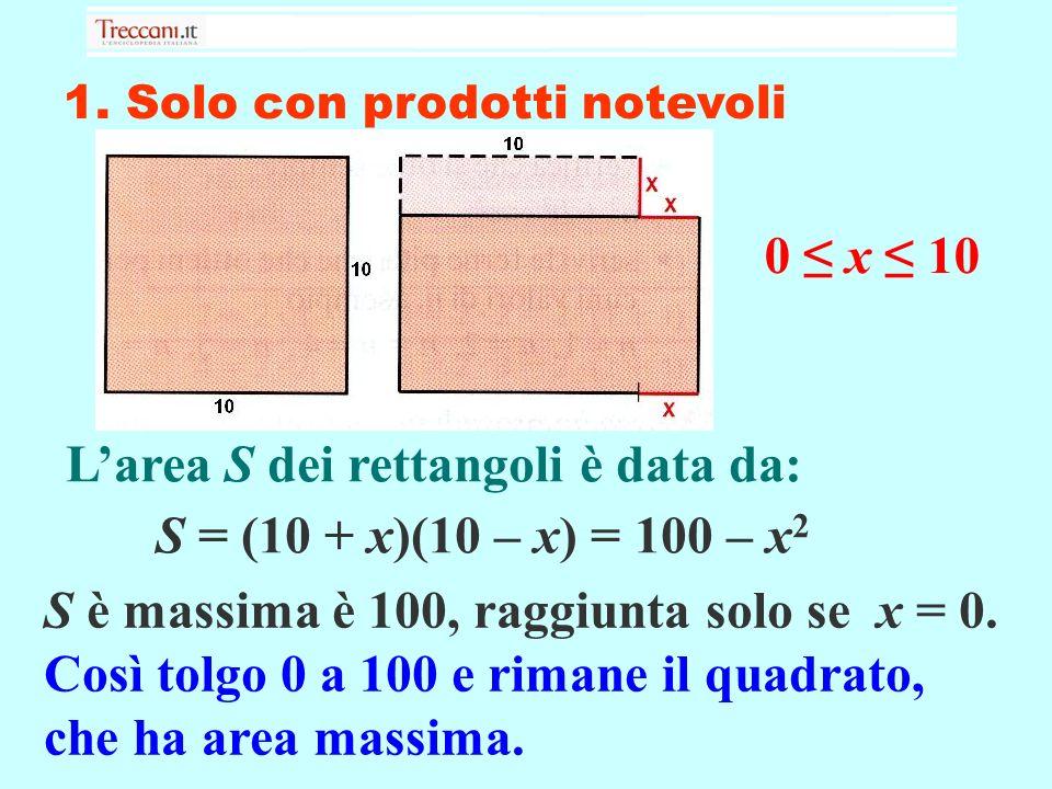 1. Solo con prodotti notevoli Larea S dei rettangoli è data da: S = (10 + x)(10 – x) = 100 – x 2 S è massima è 100, raggiunta solo se x = 0. Così tolg