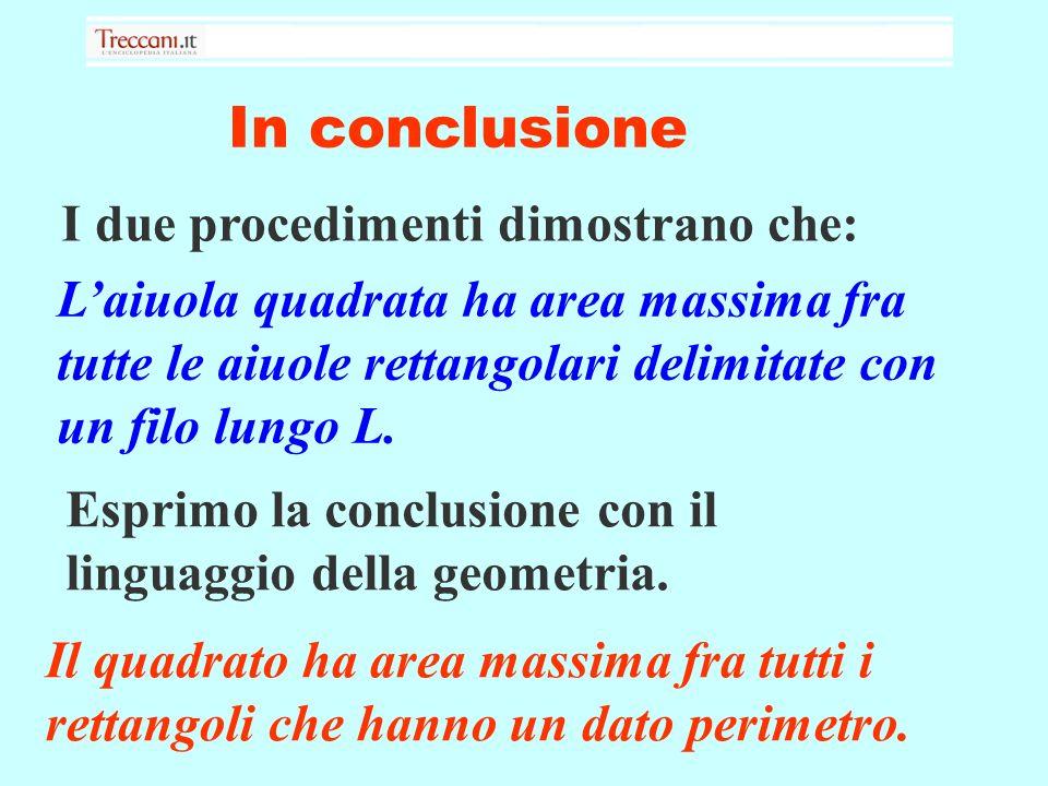 In conclusione I due procedimenti dimostrano che: Laiuola quadrata ha area massima fra tutte le aiuole rettangolari delimitate con un filo lungo L.