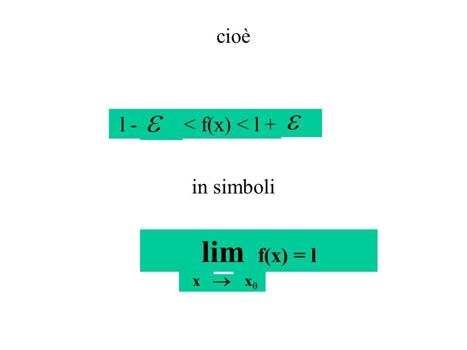 cioè l -< f(x) < l + in simboli lim f(x) = l x x 0