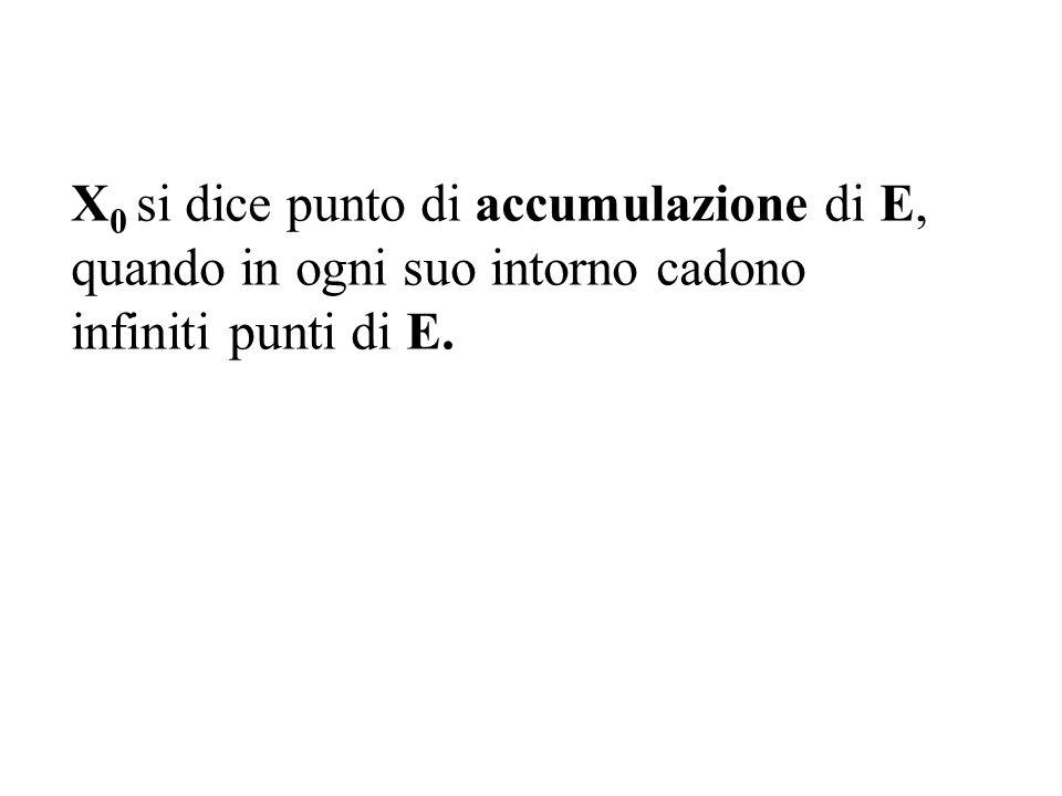 X0 X0 si dice punto di accumulazione di E,E, quando in ogni suo intorno cadono infiniti punti di E.