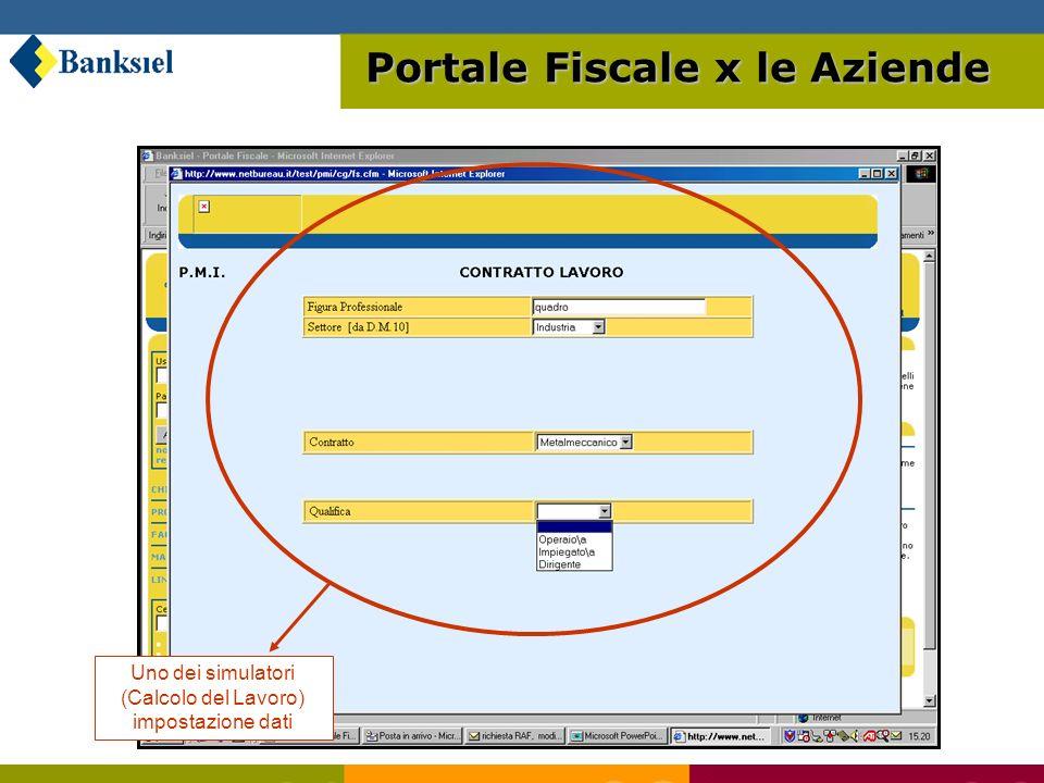 Uno dei simulatori (Calcolo del Lavoro) impostazione dati Portale Fiscale x le Aziende