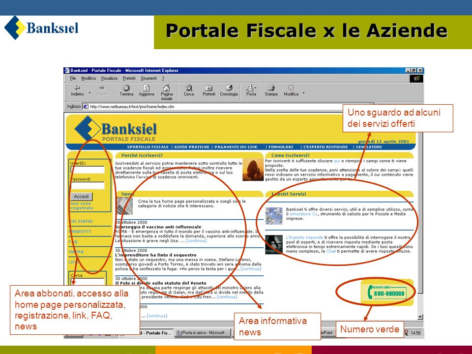 Portale Fiscale x le Aziende Area informativa news Area abbonati, accesso alla home page personalizzata, registrazione, link, FAQ, news Uno sguardo ad alcuni dei servizi offerti Numero verde