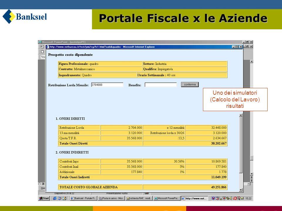 Uno dei simulatori (Calcolo del Lavoro) risultati Portale Fiscale x le Aziende