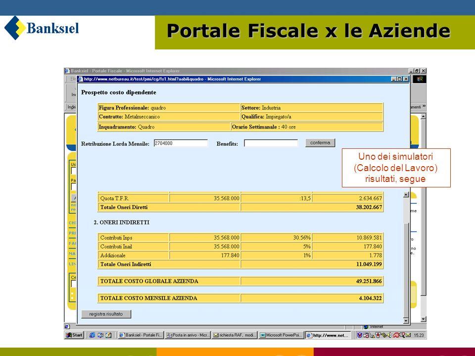 Uno dei simulatori (Calcolo del Lavoro) risultati, segue Portale Fiscale x le Aziende