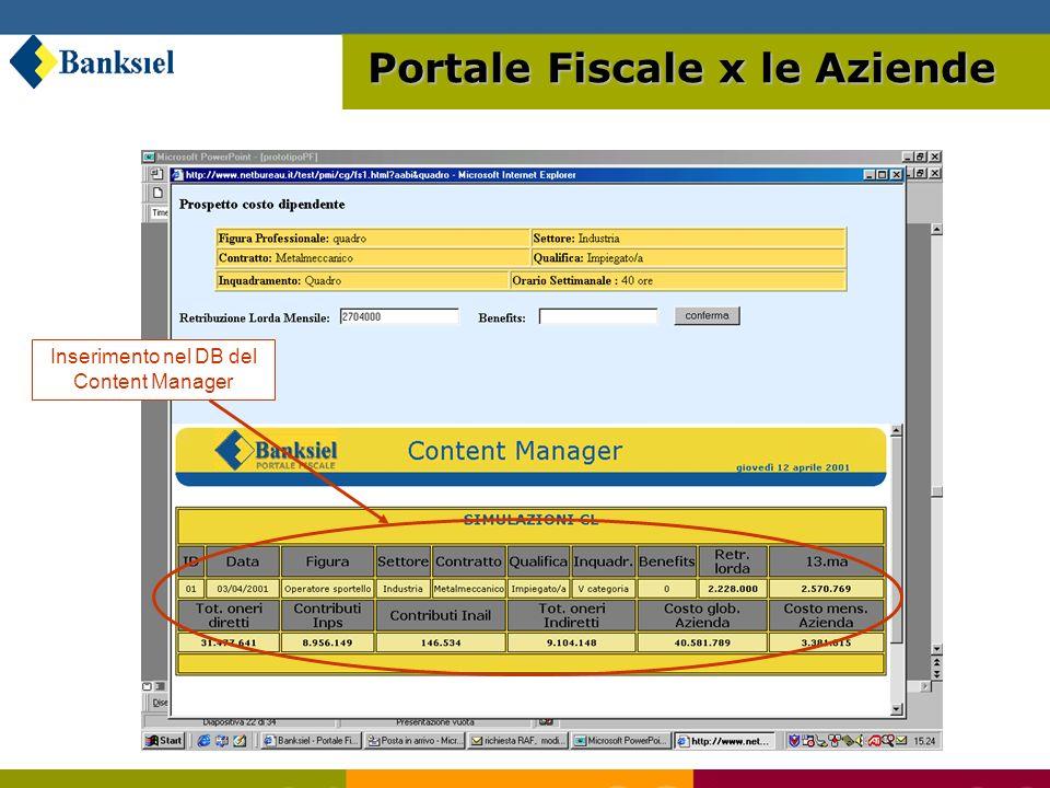 Inserimento nel DB del Content Manager Portale Fiscale x le Aziende