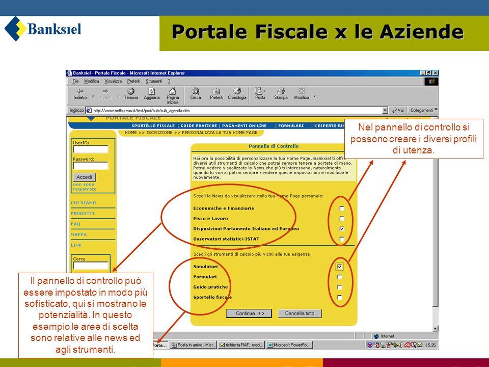 Nel pannello di controllo si possono creare i diversi profili di utenza.
