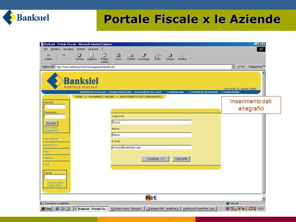 Servizio di pagamento online tramite conto corrente o carta di credito Portale Fiscale x le Aziende