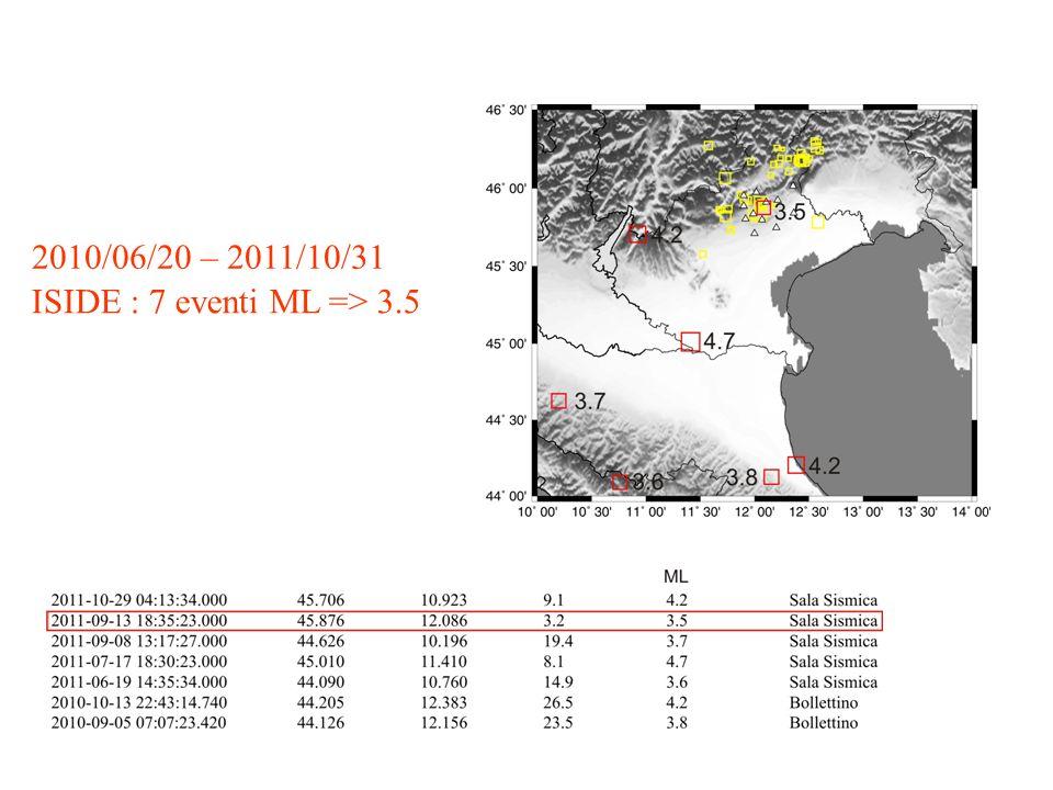 2010/06/20 – 2011/10/31 ISIDE : 7 eventi ML => 3.5