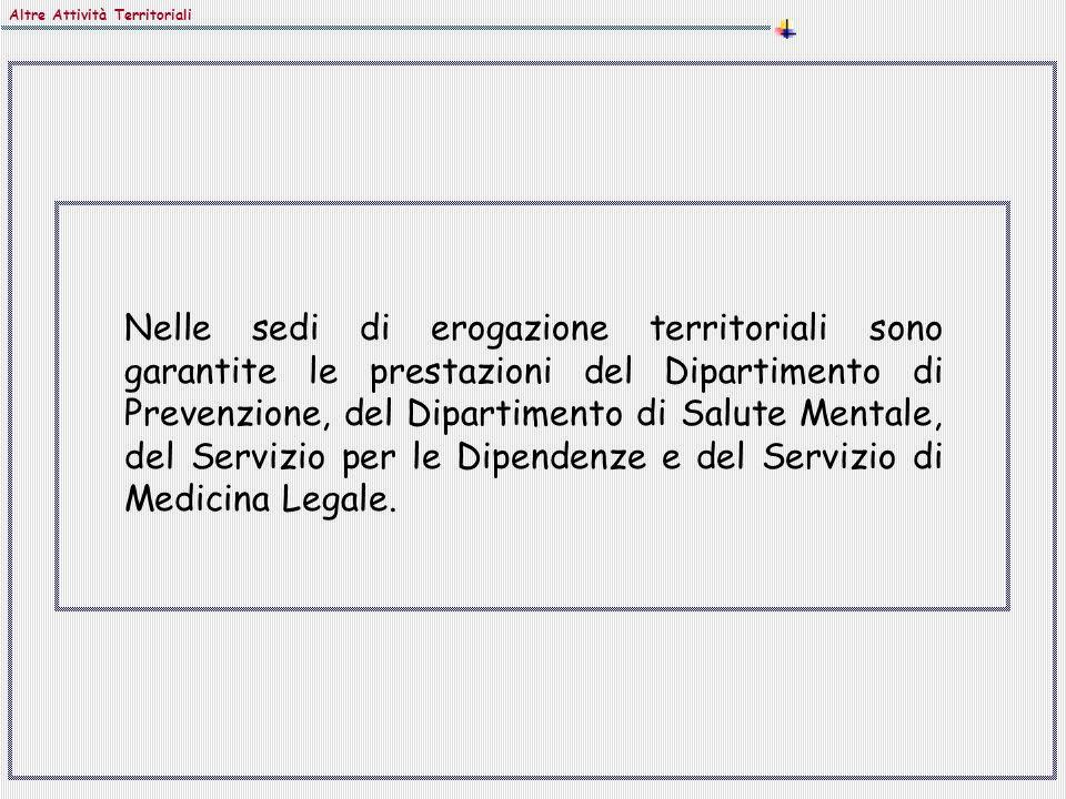 Nelle sedi di erogazione territoriali sono garantite le prestazioni del Dipartimento di Prevenzione, del Dipartimento di Salute Mentale, del Servizio per le Dipendenze e del Servizio di Medicina Legale.
