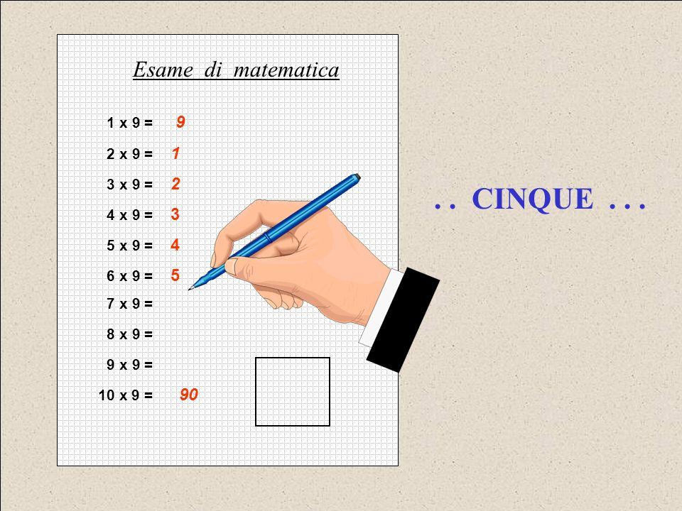 1 x 9 = 9 2 x 9 = 1 3 x 9 = 2 4 x 9 = 3 5 x 9 = 4 6 x 9 = 5 7 x 9 = 8 x 9 = 9 x 9 = 10 x 9 = 90 Esame di matematica..
