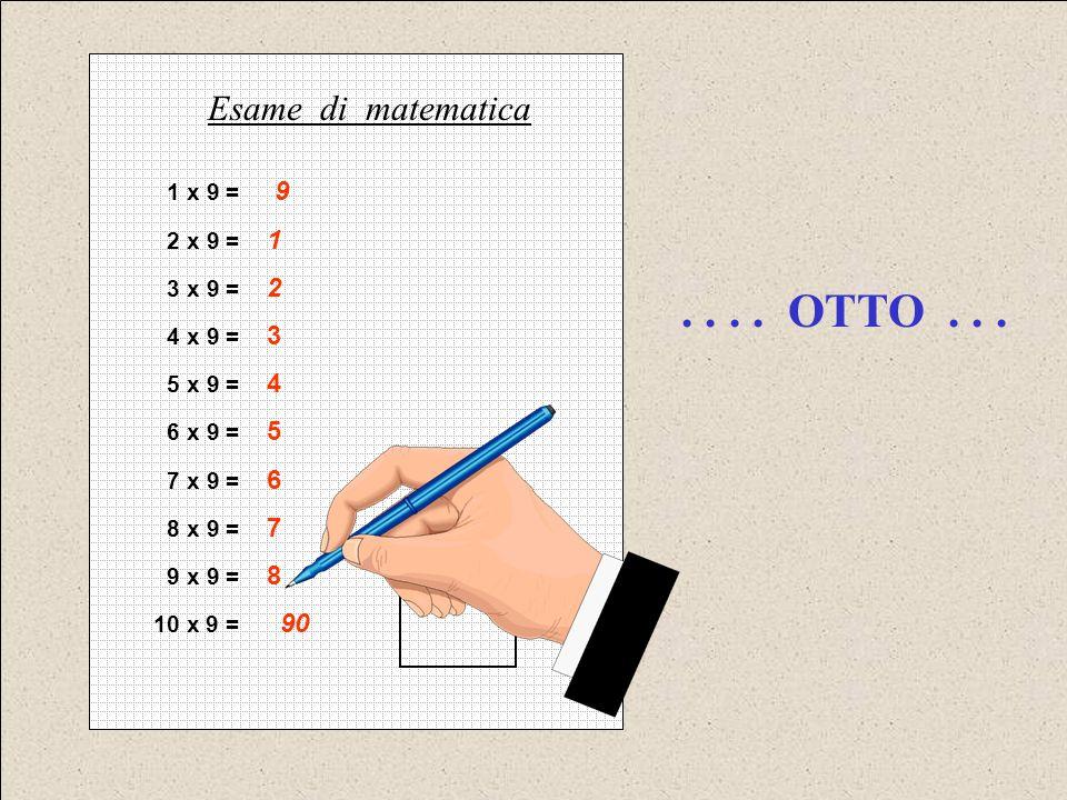 1 x 9 = 9 2 x 9 = 1 3 x 9 = 2 4 x 9 = 3 5 x 9 = 4 6 x 9 = 5 7 x 9 = 6 8 x 9 = 7 9 x 9 = 8 10 x 9 = 90 Esame di matematica.... OTTO...