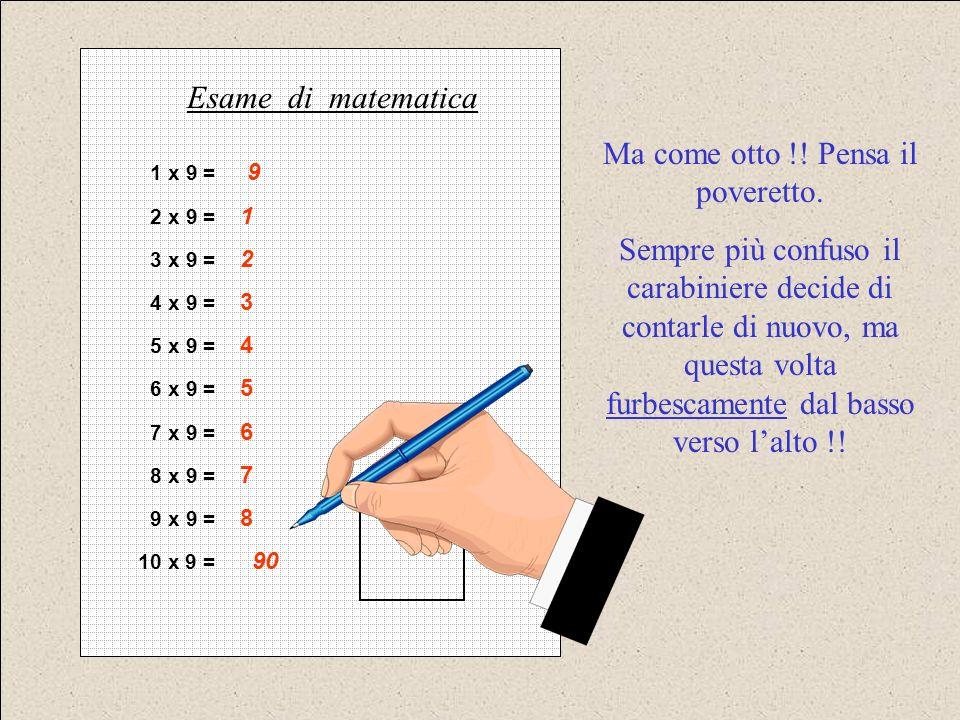 1 x 9 = 9 2 x 9 = 1 3 x 9 = 2 4 x 9 = 3 5 x 9 = 4 6 x 9 = 5 7 x 9 = 6 8 x 9 = 7 9 x 9 = 8 10 x 9 = 90 Esame di matematica Ma come otto !! Pensa il pov