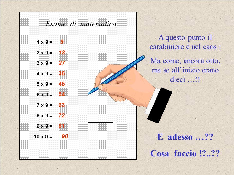 1 x 9 = 9 2 x 9 = 18 3 x 9 = 27 4 x 9 = 36 5 x 9 = 45 6 x 9 = 54 7 x 9 = 63 8 x 9 = 72 9 x 9 = 81 10 x 9 = 90 Esame di matematica A questo punto il carabiniere è nel caos : Ma come, ancora otto, ma se allinizio erano dieci …!.
