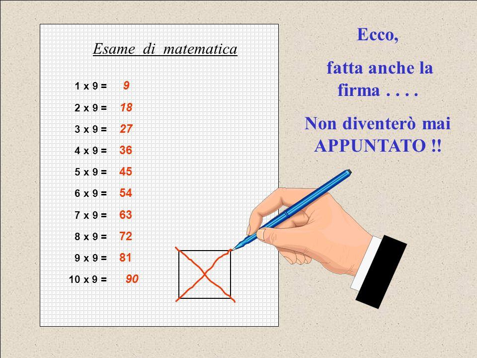 1 x 9 = 9 2 x 9 = 18 3 x 9 = 27 4 x 9 = 36 5 x 9 = 45 6 x 9 = 54 7 x 9 = 63 8 x 9 = 72 9 x 9 = 81 10 x 9 = 90 Esame di matematica Ecco, fatta anche la firma....
