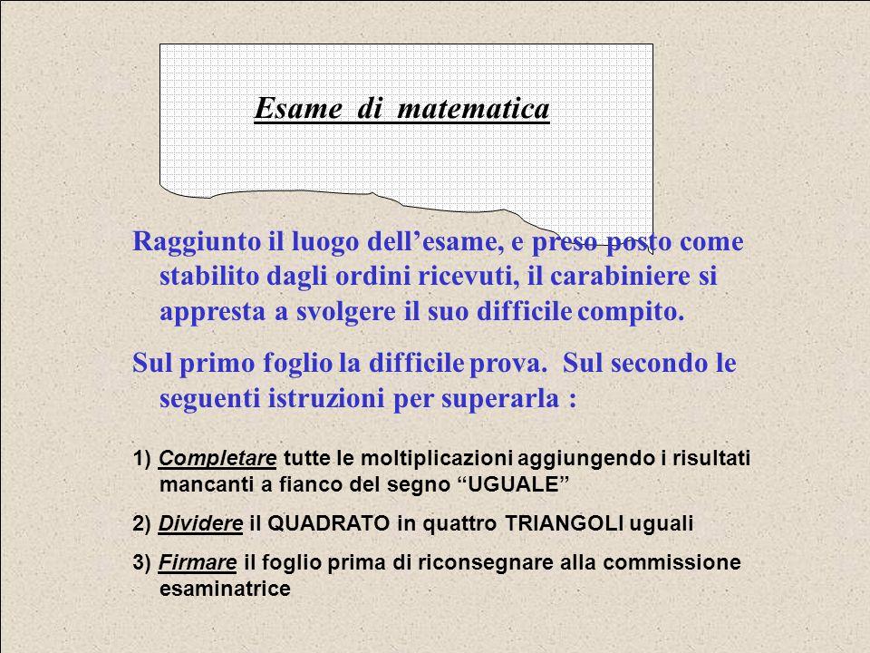 1 x 9 = 2 x 9 = 3 x 9 = 4 x 9 = 5 x 9 = 6 x 9 = 7 x 9 = 8 x 9 = 9 x 9 = 10 x 9 = Esame di matematica Il povero carabiniere è sbalordito dalla difficoltà della prova, ma non si perde danimo e, valutata la situazione, decide di iniziare dalle cose più semplici : le moltiplicazioni x1 e x10 !!