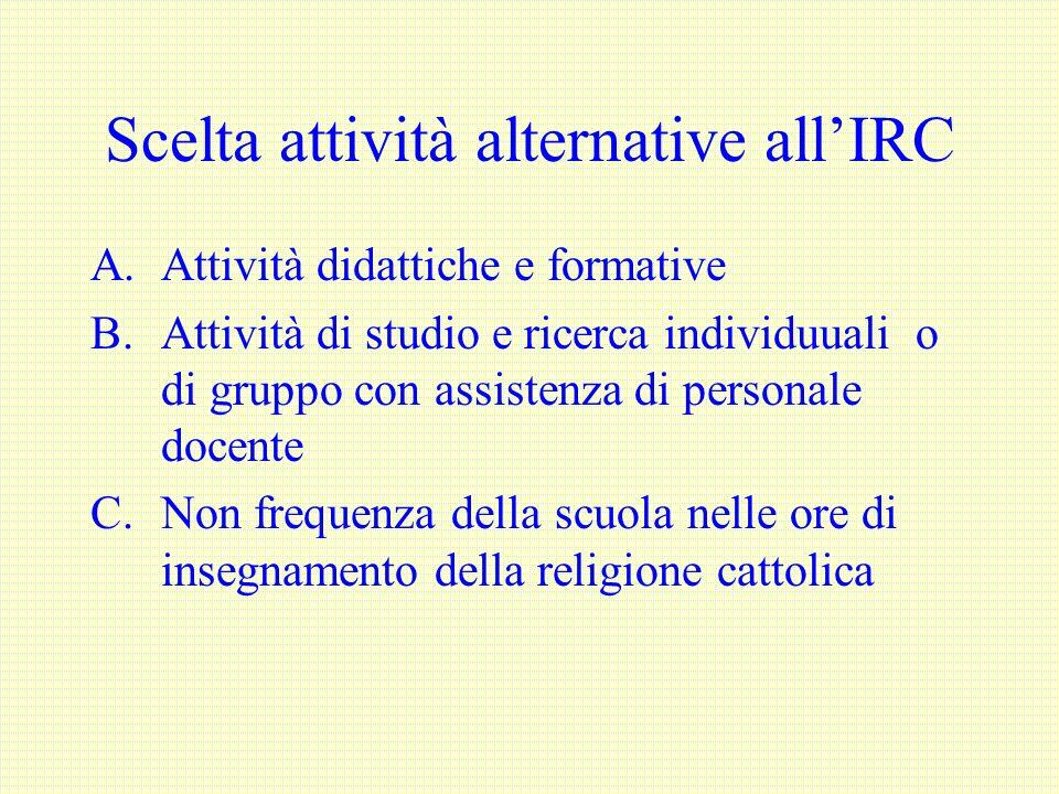 Scelta attività alternative allIRC A.Attività didattiche e formative B.Attività di studio e ricerca individuuali o di gruppo con assistenza di persona