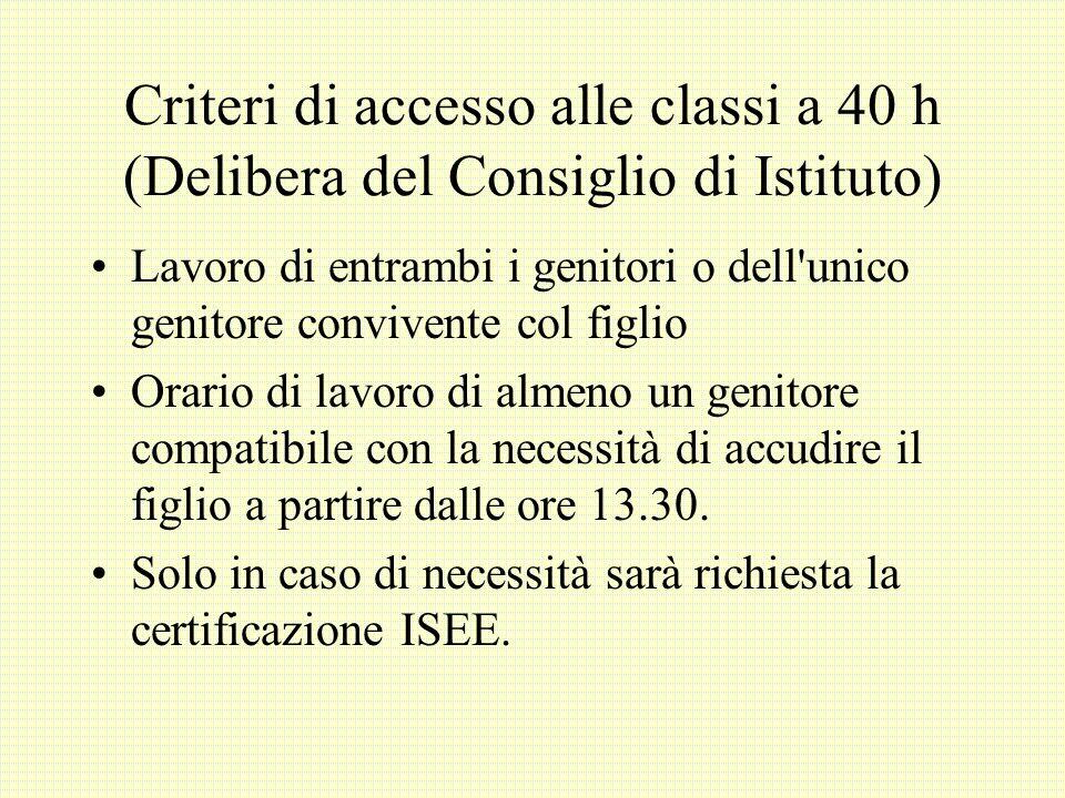Criteri di accesso alle classi a 40 h (Delibera del Consiglio di Istituto) Lavoro di entrambi i genitori o dell'unico genitore convivente col figlio O