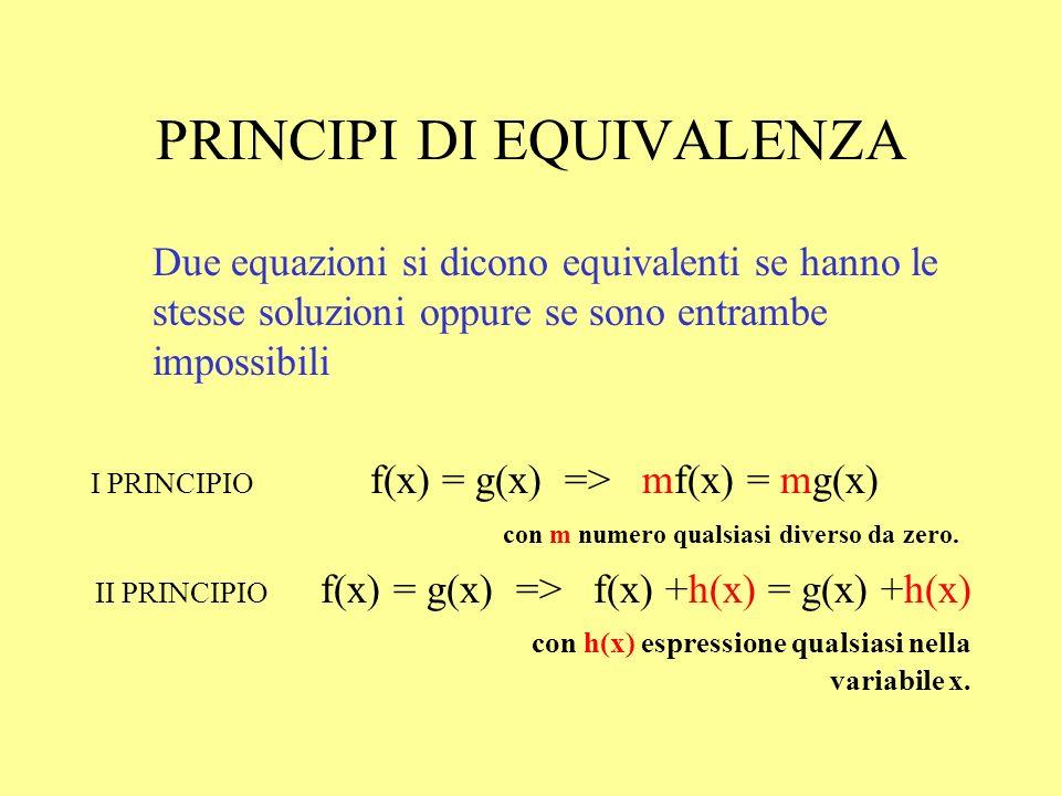 Per trovare leventuale soluzione dellequazione è opportuno semplificarne la forma senza modificarne il significato … Il primo ed il secondo principio