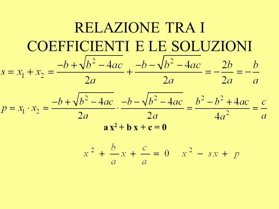 ESEMPI 25x 2 + 10x +1 = 0 = 25 – 25 = 0 x 2 - 3 x + 8 = 0 = 9 – 32 < 0 non ha soluzioni in R.