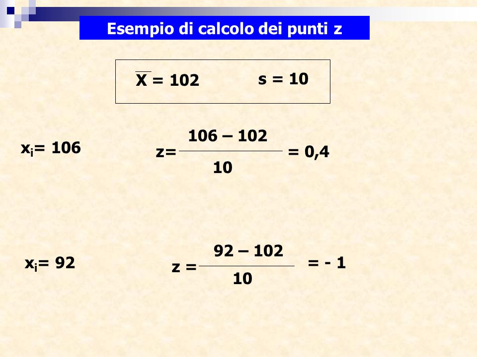 Esempio di calcolo dei punti z X = 102 s = 10 106 – 102 x i = 106 10 z== 0,4 x i = 92 92 – 102 10 z = = - 1