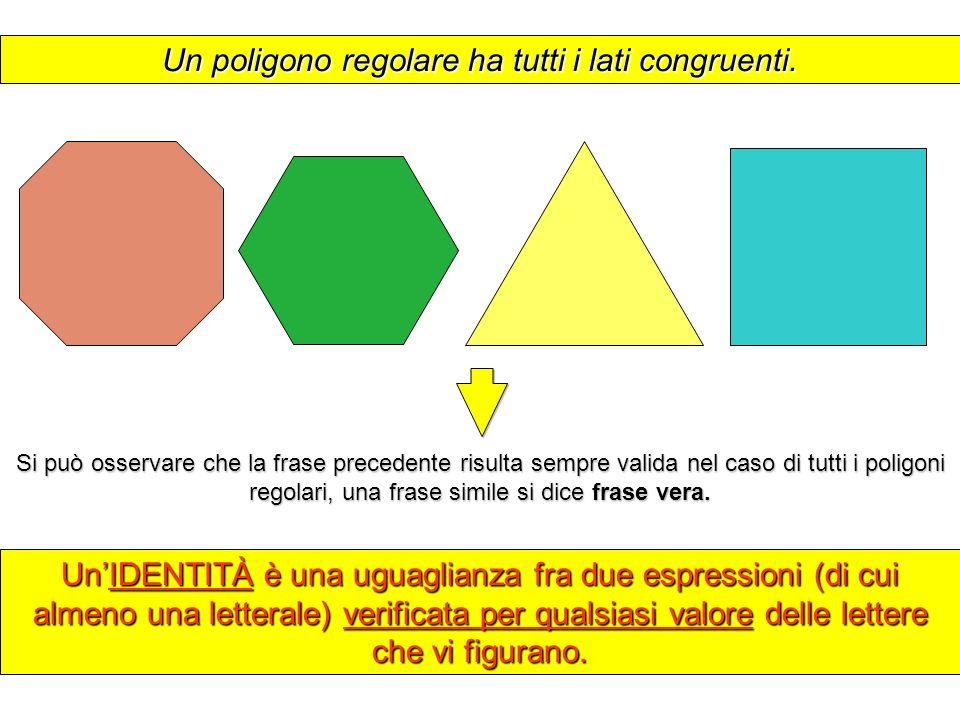 Un poligono regolare ha tutti i lati congruenti. UnIDENTITÀ è una uguaglianza fra due espressioni (di cui almeno una letterale) verificata per qualsia