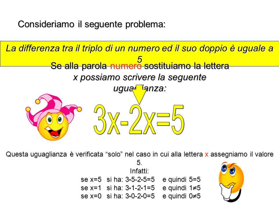La differenza tra il triplo di un numero ed il suo doppio è uguale a 5 Consideriamo il seguente problema: Se alla parola numero sostituiamo la lettera