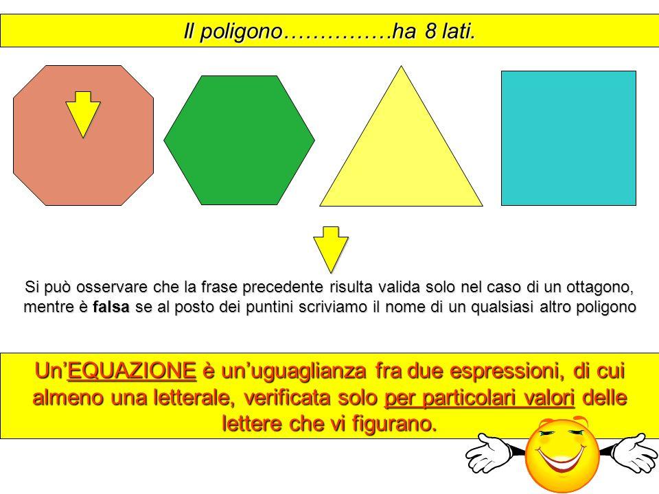 Il poligono……………ha 8 lati. UnEQUAZIONE è unuguaglianza fra due espressioni, di cui almeno una letterale, verificata solo per particolari valori delle