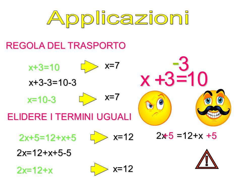 REGOLA DEL TRASPORTO ELIDERE I TERMINI UGUALI x+3=10 x=7 x=10-3 x=7 x 3= 10 + - 3 2x+5=12+x+5 2x=12+x+5-52x=12+x x=12 x=12 2x=12+x 2x+5=12+x+5 +5 +5 x