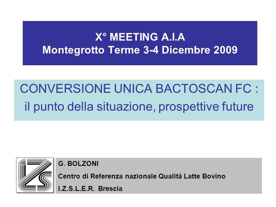 X° MEETING A.I.A Montegrotto Terme 3-4 Dicembre 2009 CONVERSIONE UNICA BACTOSCAN FC : il punto della situazione, prospettive future G.