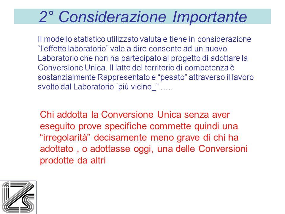2° Considerazione Importante Il modello statistico utilizzato valuta e tiene in considerazione leffetto laboratorio vale a dire consente ad un nuovo Laboratorio che non ha partecipato al progetto di adottare la Conversione Unica.