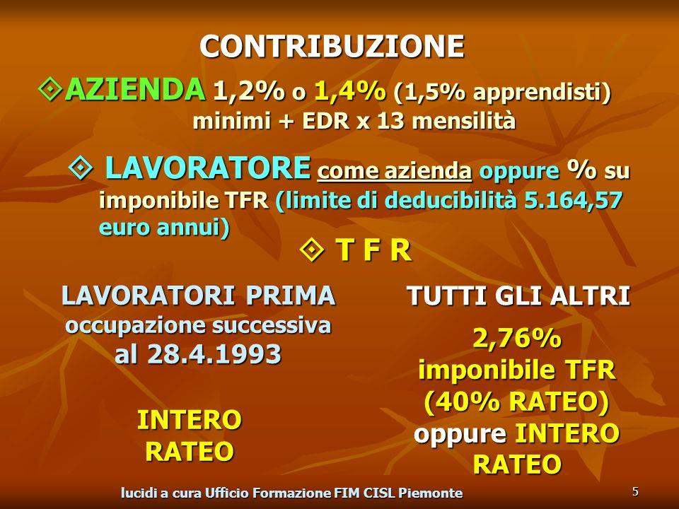 lucidi a cura Ufficio Formazione FIM CISL Piemonte 5 LAVORATORE come azienda oppure % su imponibile TFR (limite di deducibilità 5.164,57 euro annui) LAVORATORE come azienda oppure % su imponibile TFR (limite di deducibilità 5.164,57 euro annui) LAVORATORI PRIMA occupazione successiva al 28.4.1993 TUTTI GLI ALTRI INTERO RATEO 2,76% imponibile TFR (40% RATEO) oppure INTERO RATEO CONTRIBUZIONE AZIENDA 1,2% o 1,4% (1,5% apprendisti) AZIENDA 1,2% o 1,4% (1,5% apprendisti) minimi + EDR x 13 mensilità T F R T F R