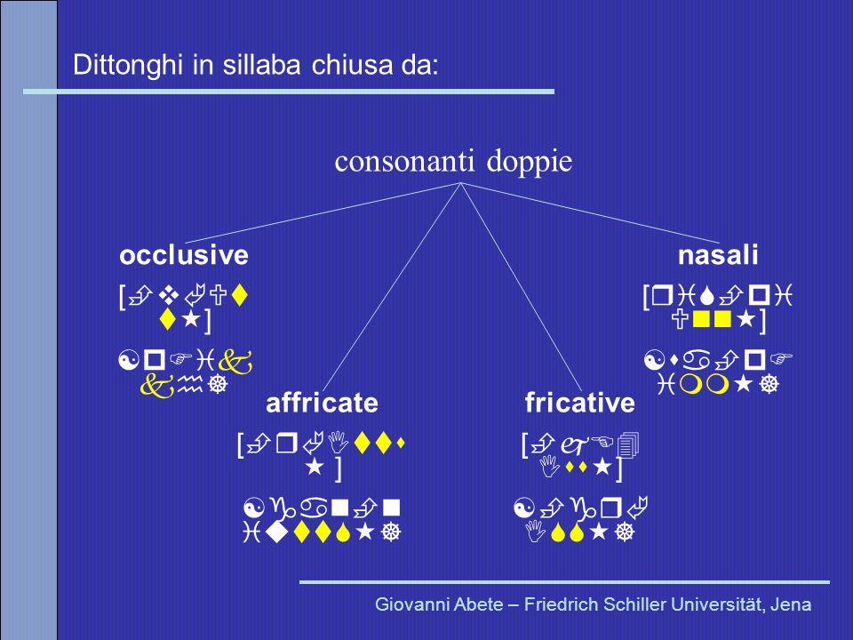 Dittonghi in sillaba chiusa da: Giovanni Abete – Friedrich Schiller Universität, Jena consonanti doppie occlusive [ v Ut t ] [p ik kh] affricate [ r I
