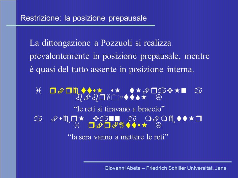 Restrizione: la posizione prepausale Giovanni Abete – Friedrich Schiller Universität, Jena La dittongazione a Pozzuoli si realizza prevalentemente in