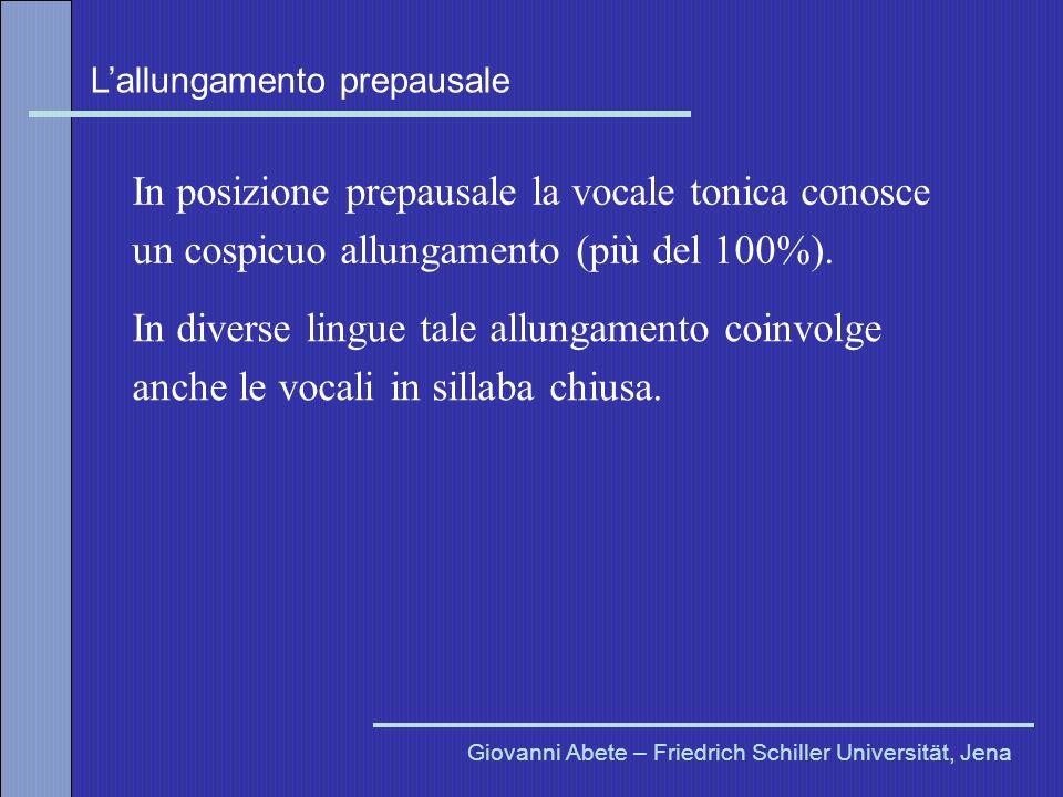 Lallungamento prepausale Giovanni Abete – Friedrich Schiller Universität, Jena In posizione prepausale la vocale tonica conosce un cospicuo allungamen