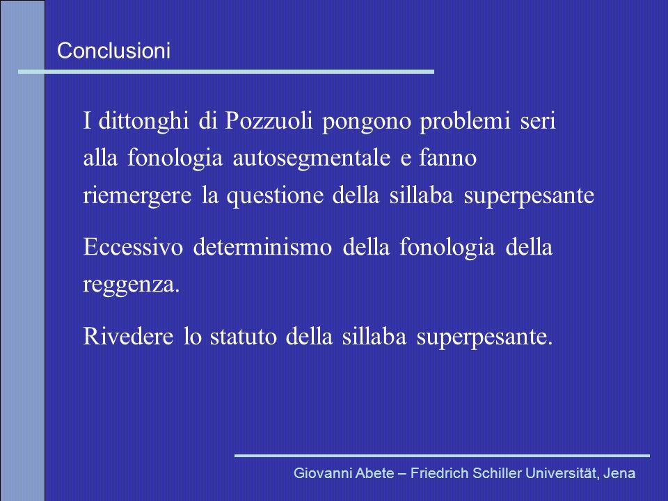 Conclusioni Giovanni Abete – Friedrich Schiller Universität, Jena I dittonghi di Pozzuoli pongono problemi seri alla fonologia autosegmentale e fanno