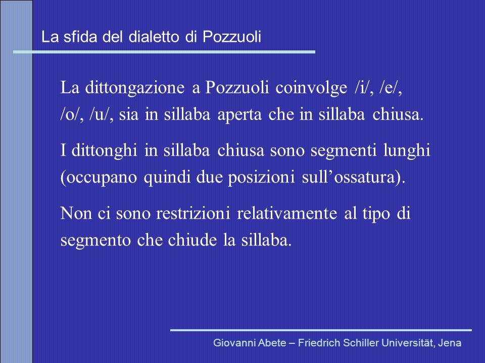 La sfida del dialetto di Pozzuoli Giovanni Abete – Friedrich Schiller Universität, Jena La dittongazione a Pozzuoli coinvolge /i/, /e/, /o/, /u/, sia