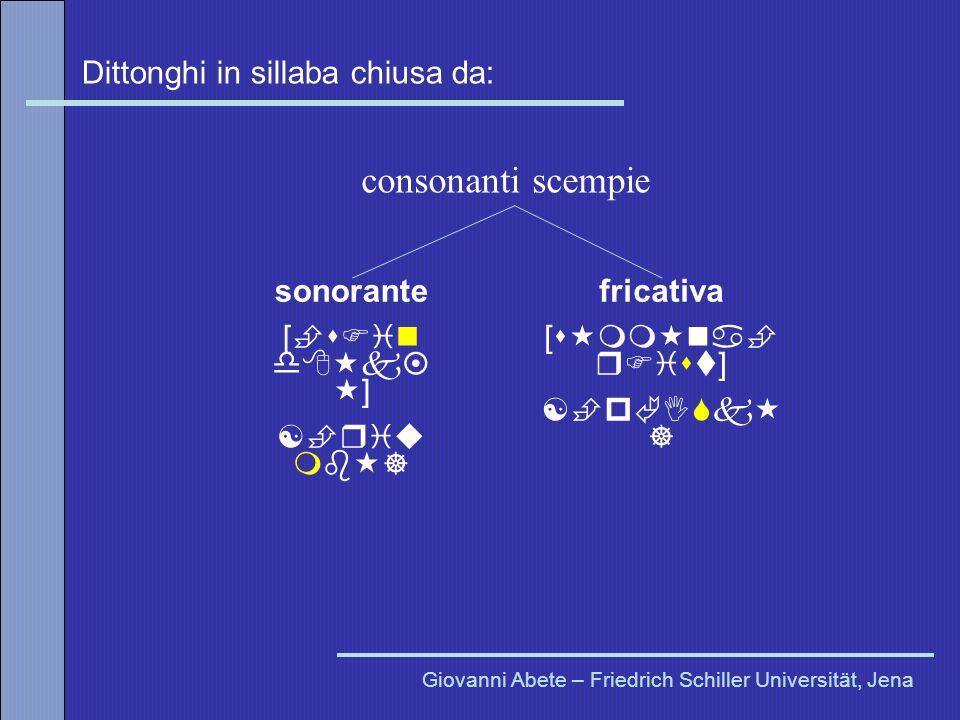Dittonghi in sillaba chiusa da: Giovanni Abete – Friedrich Schiller Universität, Jena sonorante [ s in d k ] [ riu mb ] fricativa [s mm na r ist] [ p