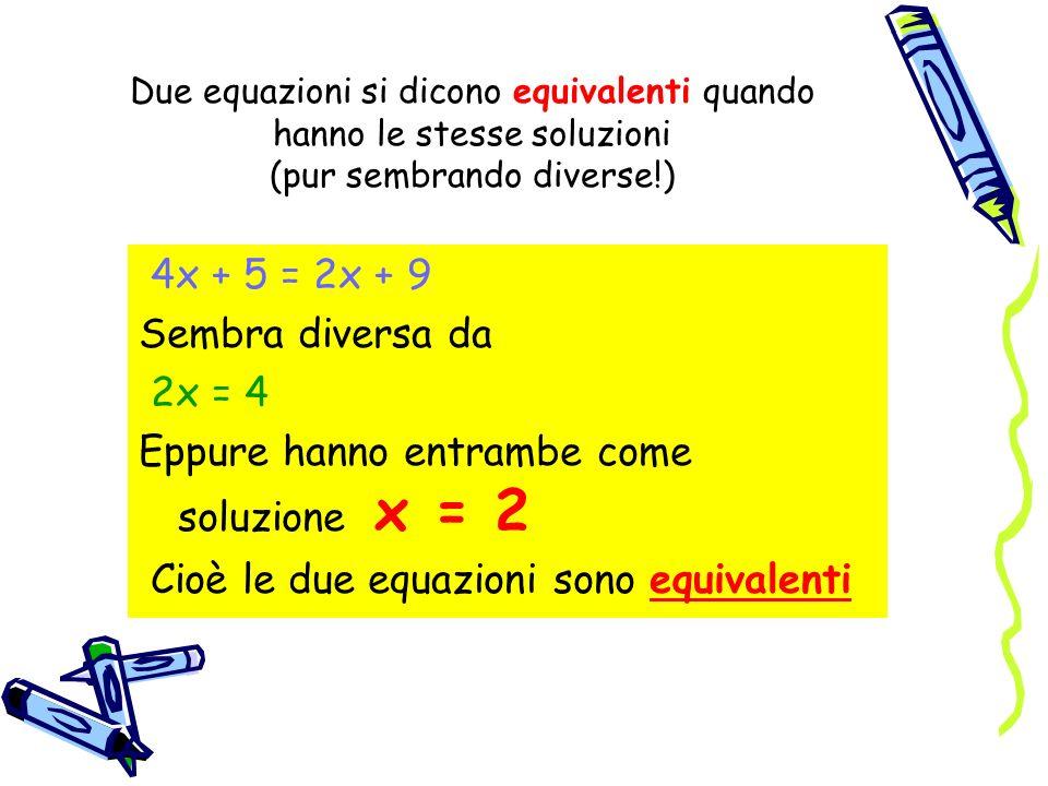 Due equazioni si dicono equivalenti quando hanno le stesse soluzioni (pur sembrando diverse!) 4x + 5 = 2x + 9 Sembra diversa da 2x = 4 Eppure hanno en