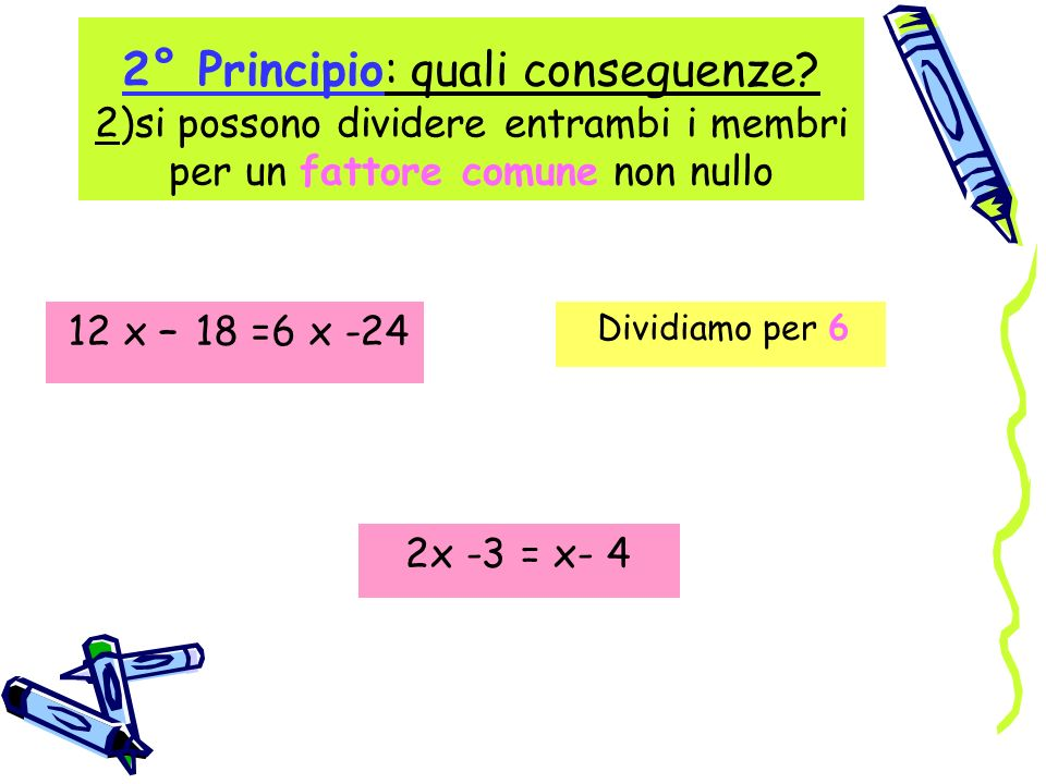 2° Principio: quali conseguenze? 2)si possono dividere entrambi i membri per un fattore comune non nullo 12 x – 18 =6 x -24 Dividiamo per 6 2x -3 = x-
