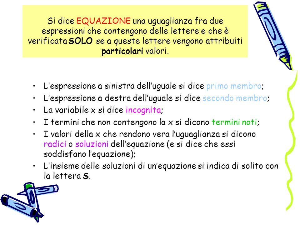 Si dice EQUAZIONE una uguaglianza fra due espressioni che contengono delle lettere e che è verificata SOLO se a queste lettere vengono attribuiti part