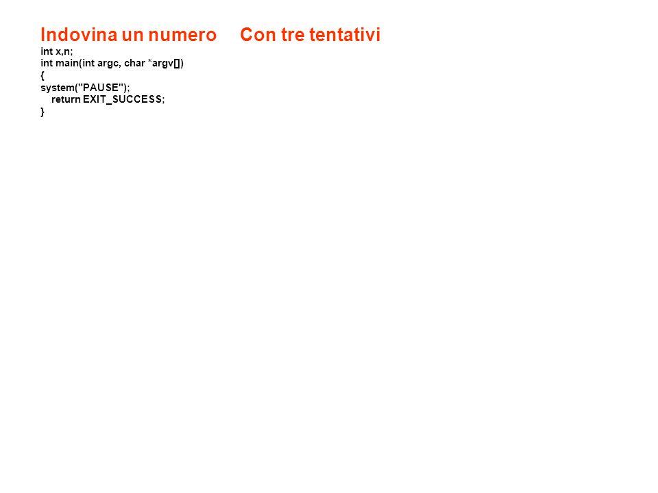 Indovina un numero Con tre tentativi int x,n; int main(int argc, char *argv[]) { system(