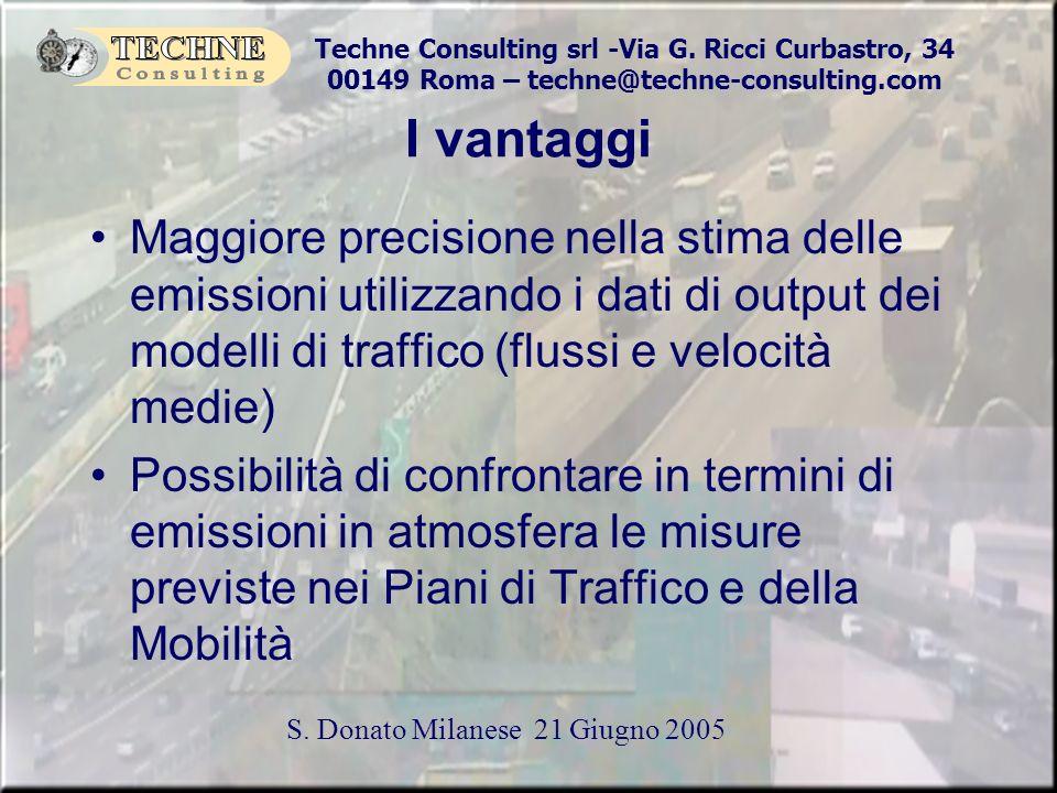 Techne Consulting srl -Via G. Ricci Curbastro, 34 00149 Roma – techne@techne-consulting.com S. Donato Milanese 21 Giugno 2005 I vantaggi Maggiore prec