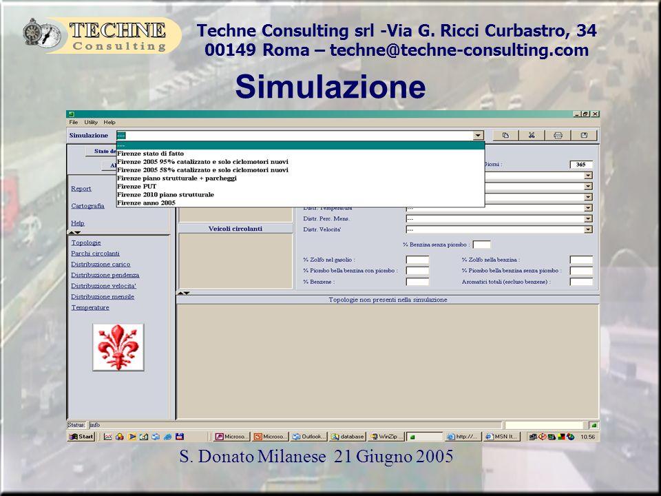 Techne Consulting srl -Via G. Ricci Curbastro, 34 00149 Roma – techne@techne-consulting.com S. Donato Milanese 21 Giugno 2005 Simulazione