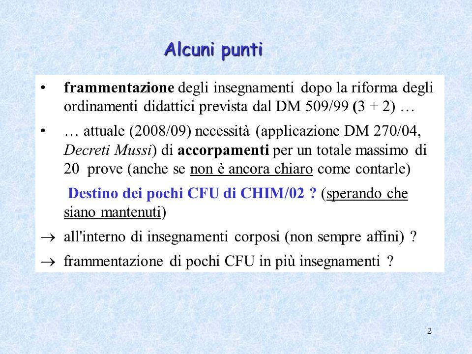 2 frammentazione degli insegnamenti dopo la riforma degli ordinamenti didattici prevista dal DM 509/99 (3 + 2) … … attuale (2008/09) necessità (applic
