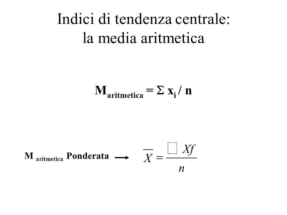 Indici di tendenza centrale: la media aritmetica Allora potremmo estrapolare una grandezza M tale che X tot = M + M + M + …..