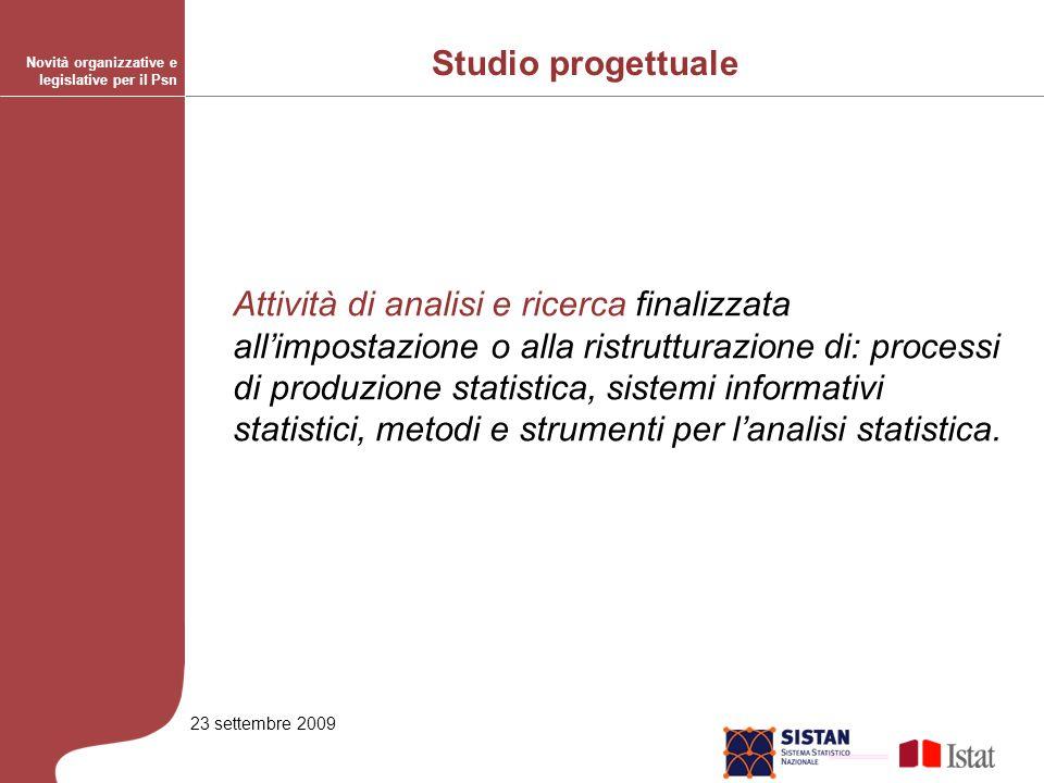 23 settembre 2009 Attività di analisi e ricerca finalizzata allimpostazione o alla ristrutturazione di: processi di produzione statistica, sistemi informativi statistici, metodi e strumenti per lanalisi statistica.